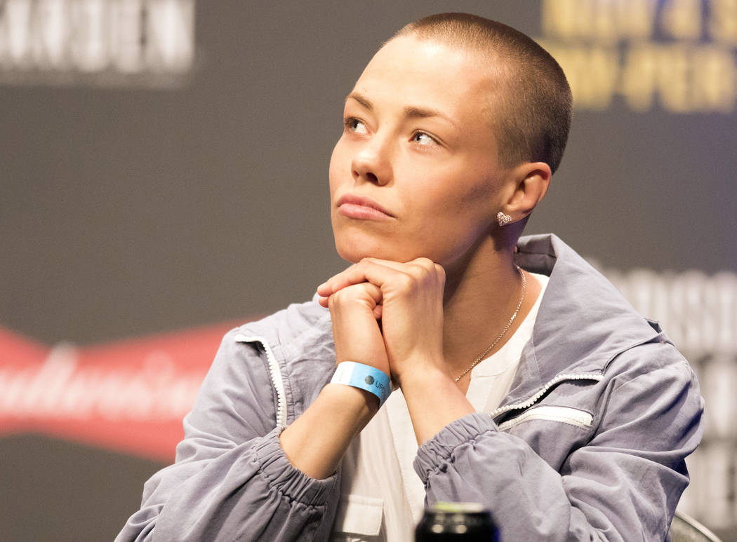 UFC strawweight title challenger Rose Namajunas at the T-Mobile Arena during the UFC 217 press conference in Las Vegas, Friday, Oct. 6, 2017. Heidi Fang Las Vegas Review-Journal @HeidiFang