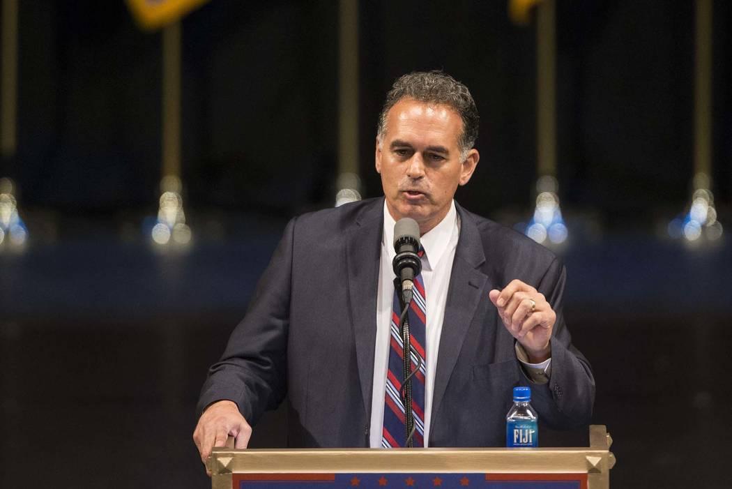 Danny Tarkanian speaks during a campaign rally in 2016 in Las Vegas. (Erik Verduzco/Las Vegas Review-Journal)