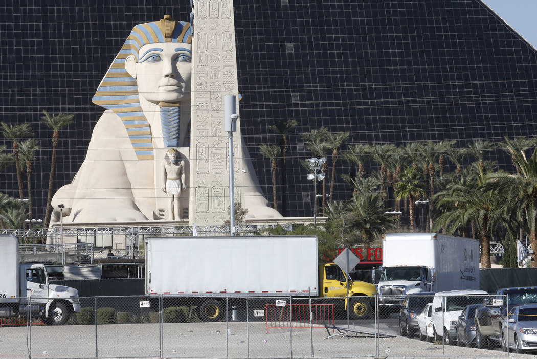 Vendors' trucks lined up to enter the festival site to reclaim their property Thursday, Nov. 2, 2017, in Las Vegas. Bizuayehu Tesfaye/Las Vegas Review-Journal @bizutesfaye