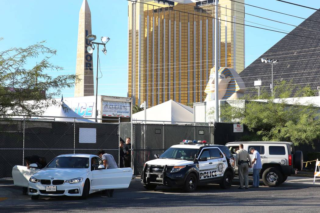 Vendors arrive at the Route 91 Harvest festival site on the Las Vegas Strip to reclaim their property, Thursday, Nov. 2, 2017, in Las Vegas. (Bizuayehu Tesfaye/Las Vegas Review-Journal) @bizutesfaye