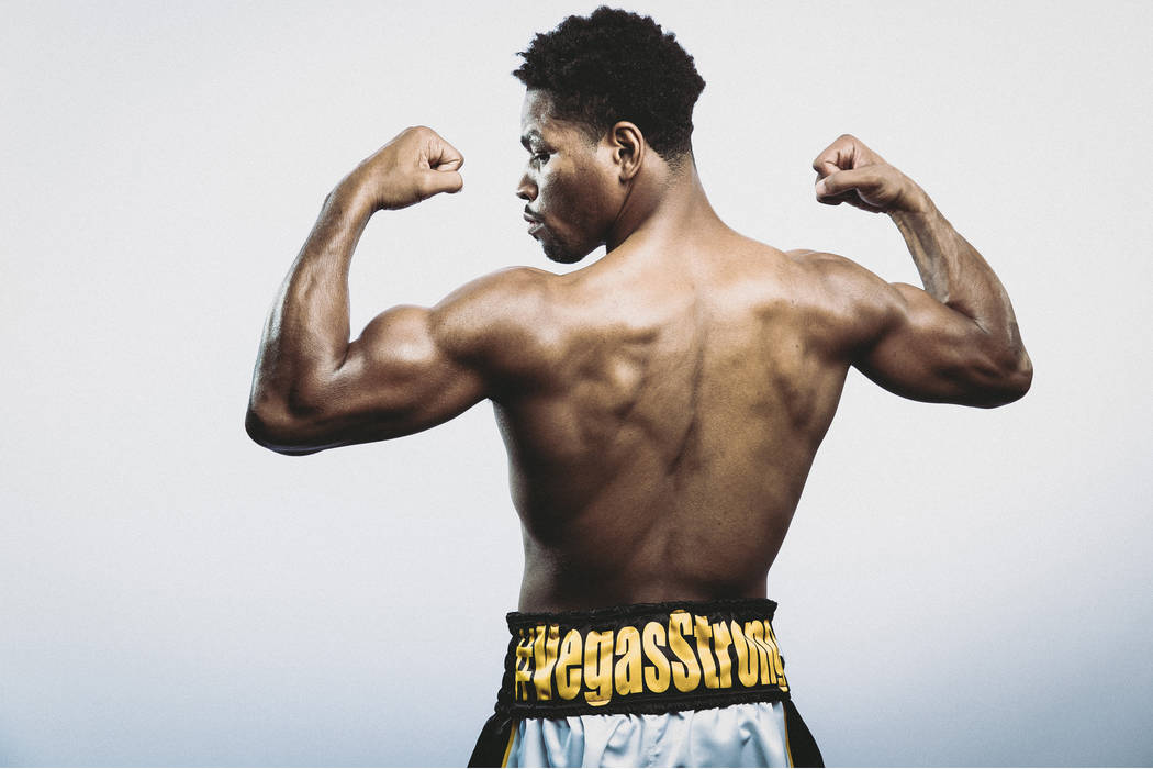 "Las Vegas resident Shawn Porter will sport ""Vegas Strong"" trunks during his fight against Adrian Granados on Saturday. (Photo courtesy of Showtime)"