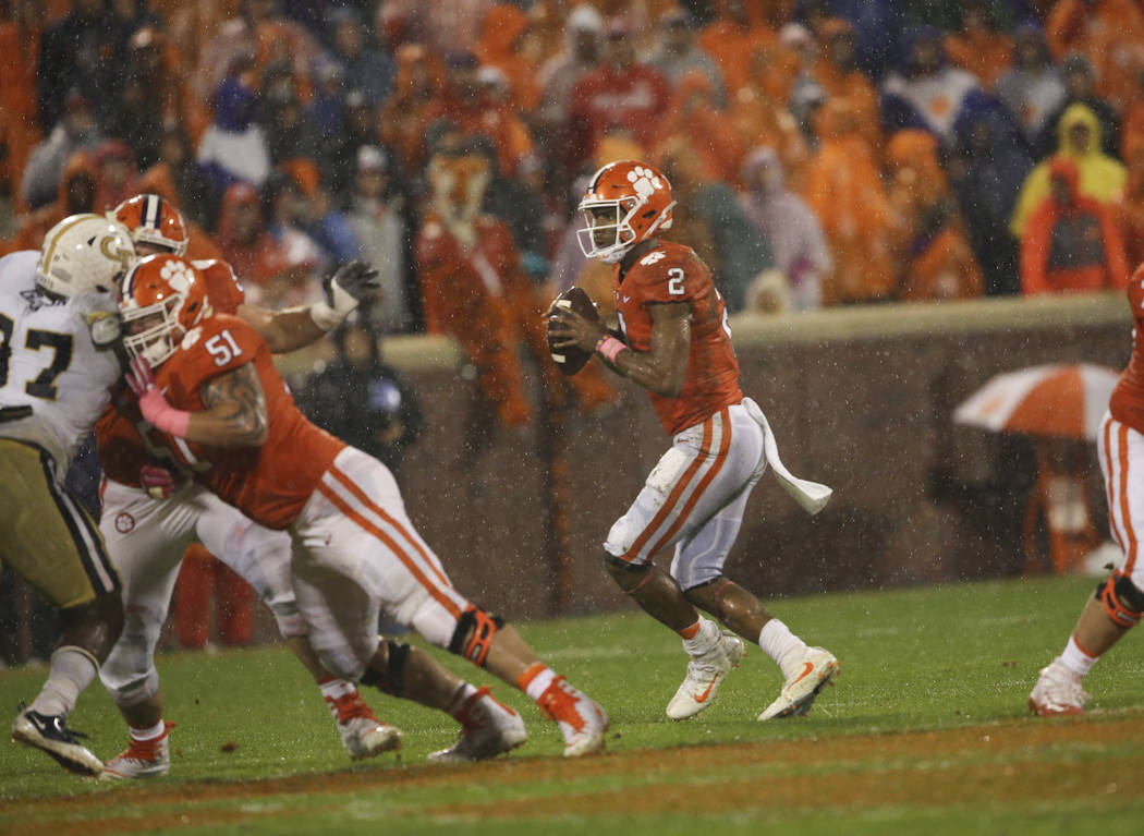 Clemson quarterback Kelly Bryant (2) drops back to pass in the first half of an NCAA college football game against Georgia Tech Saturday, Oct. 28, 2017, in Clemson, S.C. (AP Photo/John Bazemore)