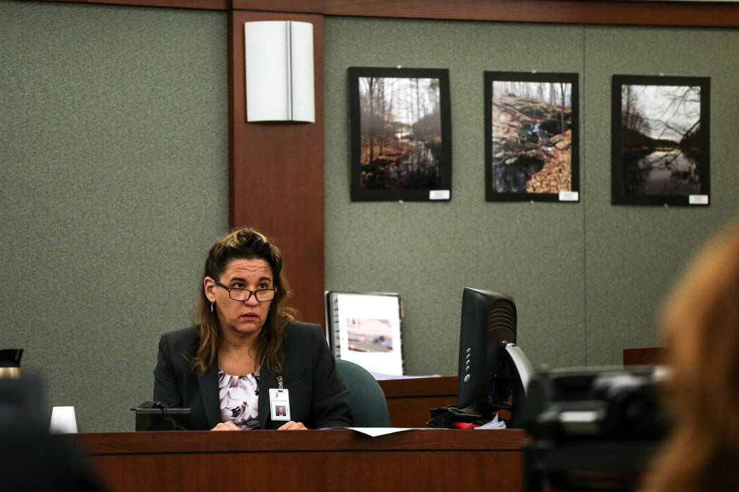 Forensic Pathologist Lisa Gavin testifies during the death penalty trial of Bryan Clay at the Regional Justice Center in Las Vegas, Thursday, Nov. 2, 2017. Joel Angel Juarez Las Vegas Review-Journ ...