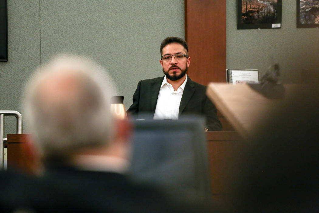 Arturo Martinez, whose wife and 10-year-old daughter were raped and killed in their Las Vegas home in 2012, testifies during the death penalty trial of Bryan Clay at the Regional Justice Center in ...