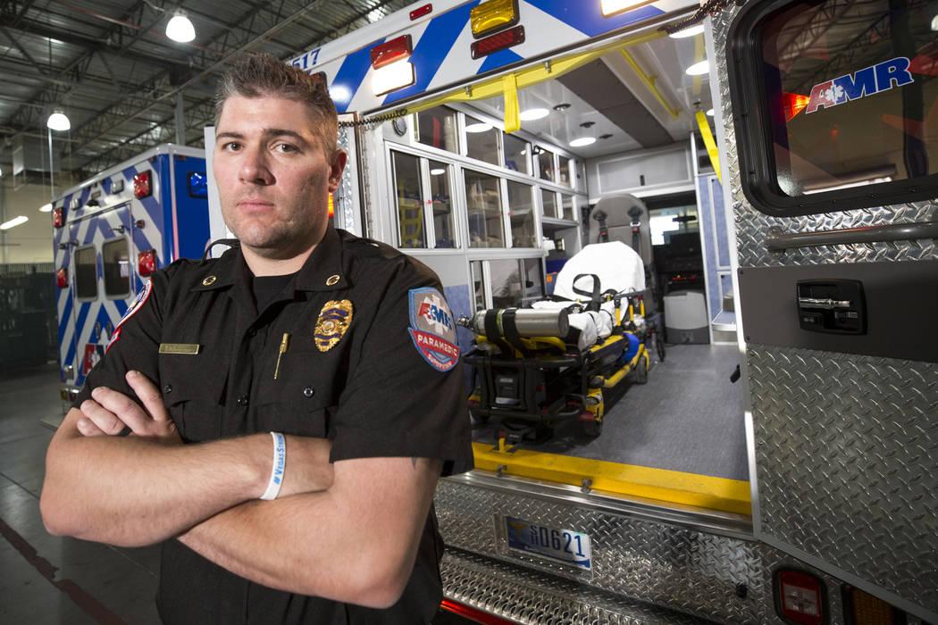 Brett Dragun, an operations supervisor and paramedic for American Medical Response (AMR), poses at AMR's headquarters on Thursday, Oct. 26, 2017. Richard Brian Las Vegas Review-Journal @vegasphoto ...