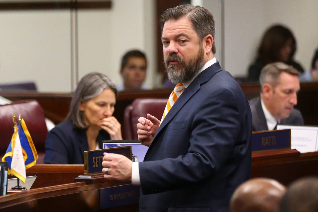 Senate Minority Leader Michael Roberson, R-Henderson, during the second to last day of the Nevada Legislature at the Legislative Building in Carson City on Sunday, June 4, 2017. (Chase Stevens Las ...