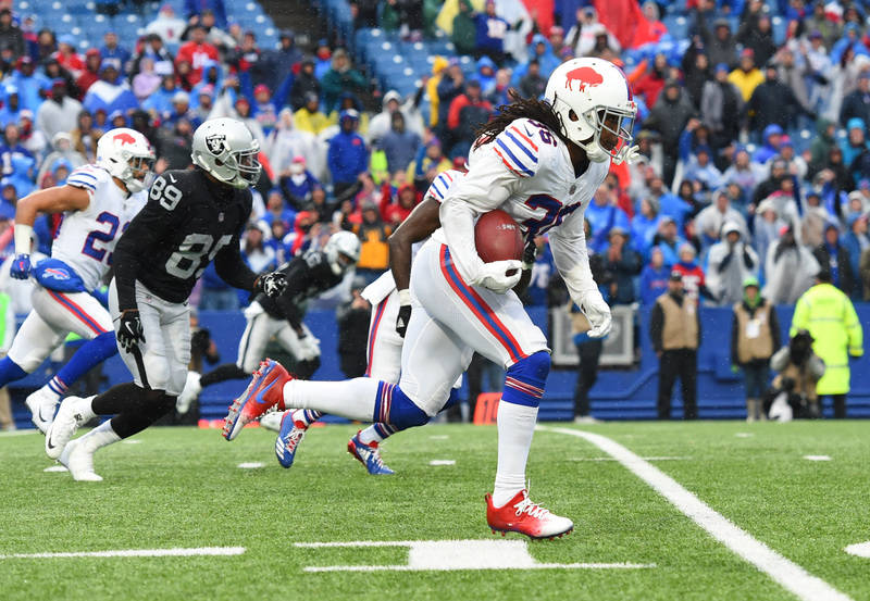 Oct 29, 2017; Orchard Park, NY, USA; Buffalo Bills defensive back Trae Elston (36) returns an interception against the Oakland Raiders during the fourth quarter at New Era Field. Mandatory Credit: ...