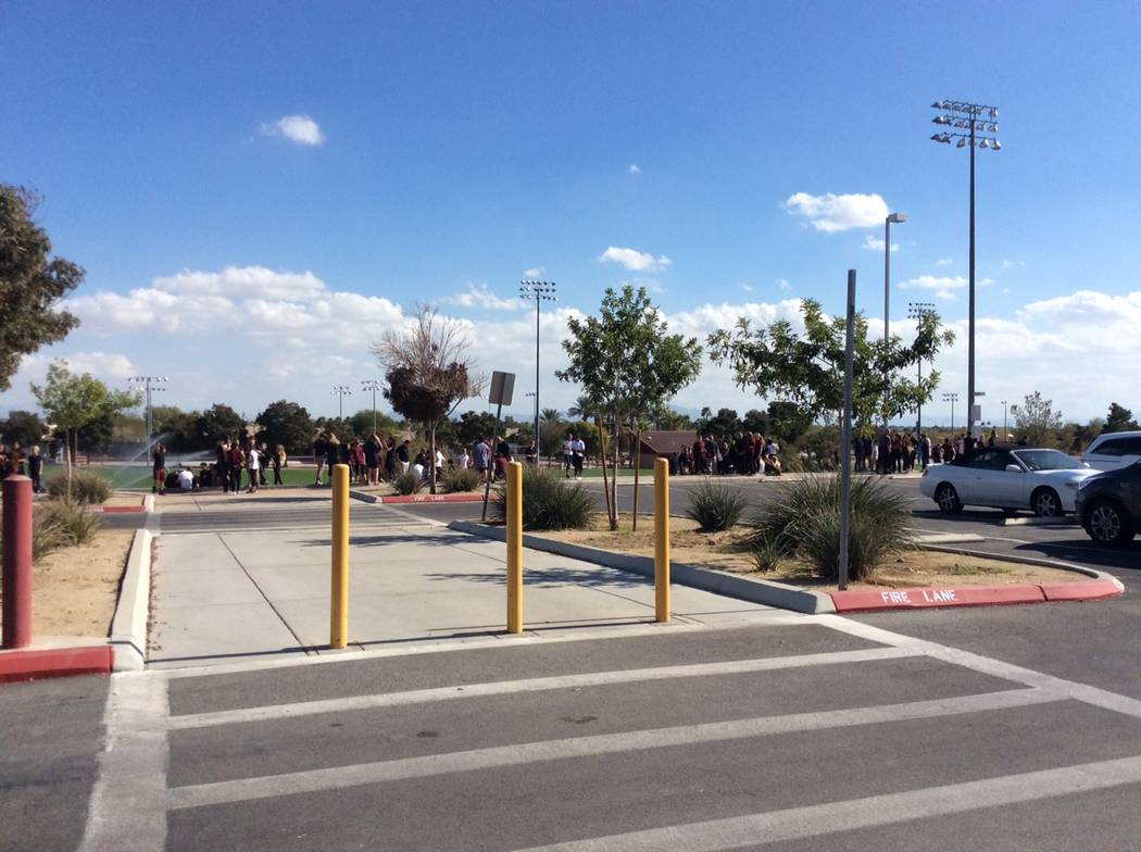 Students at Cadwallader Middle School in northwest Las Vegas were evacuated after a foul odor was reported in the building, Thursday, Nov. 2, 2017. (Las Vegas Fire Department)