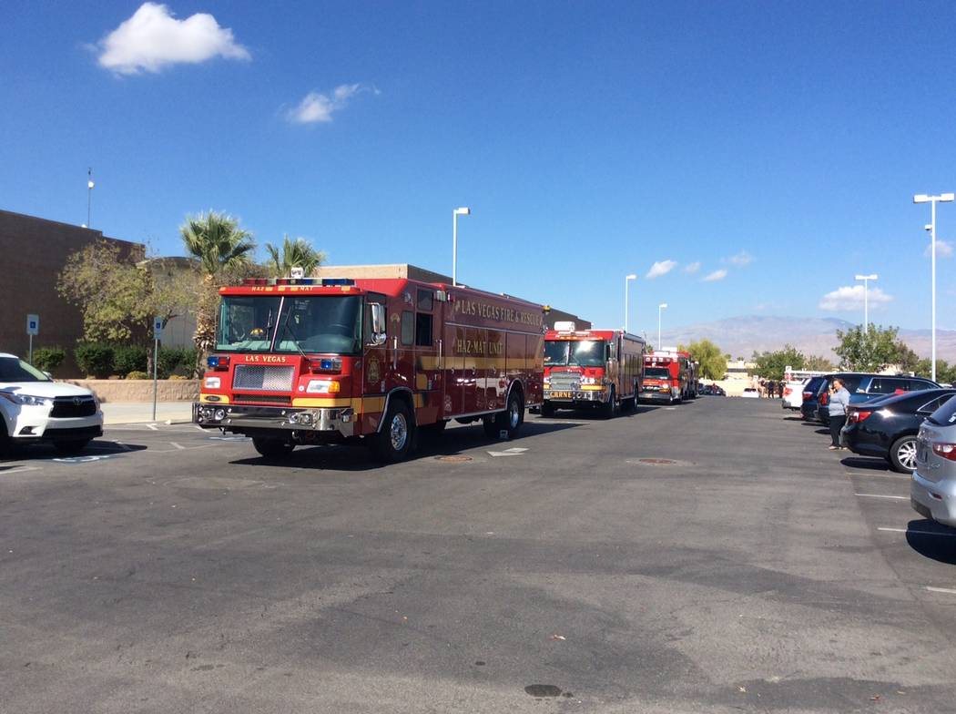 The Las Vegas Fire Department was at Cadwallader Middle School in northwest Las Vegas to check out the report of a foul odor, Thursday, Nov. 1, 2017. (Las Vegas Fire Department)