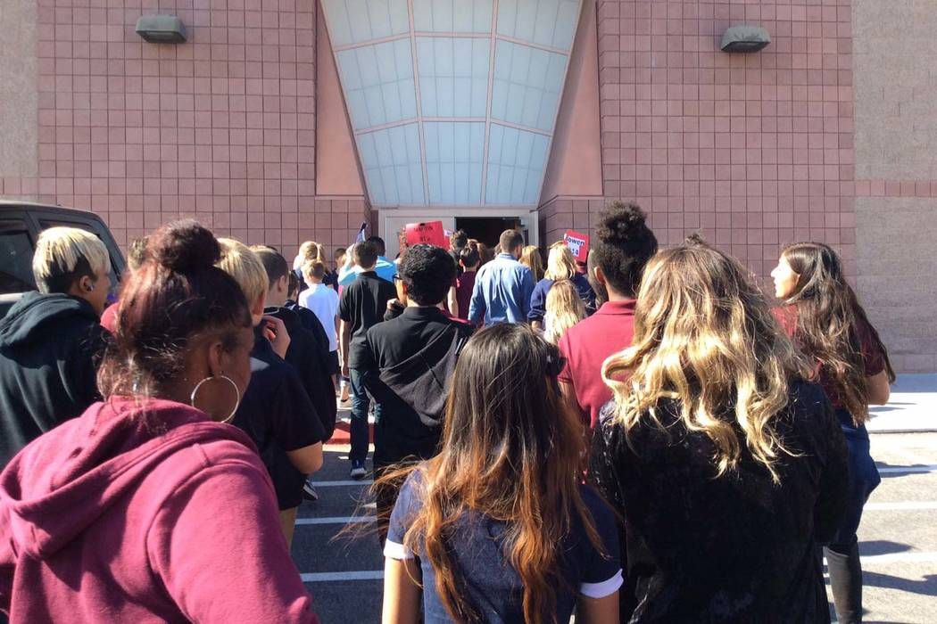 Students at Cadwallader Middle School in northwest Las Vegas return to classes after the school was evacuated after a report of an odor. (Las Vegas Fire Department)
