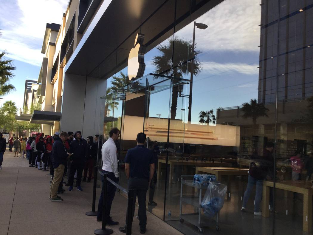 About 100 people lined up to be the firsts to get the Apple X in Downtown Summerlin, Las Vegas, Nev., Friday, Nov. 3, 2017. Nicole Raz/Las Vegas Review-Journal