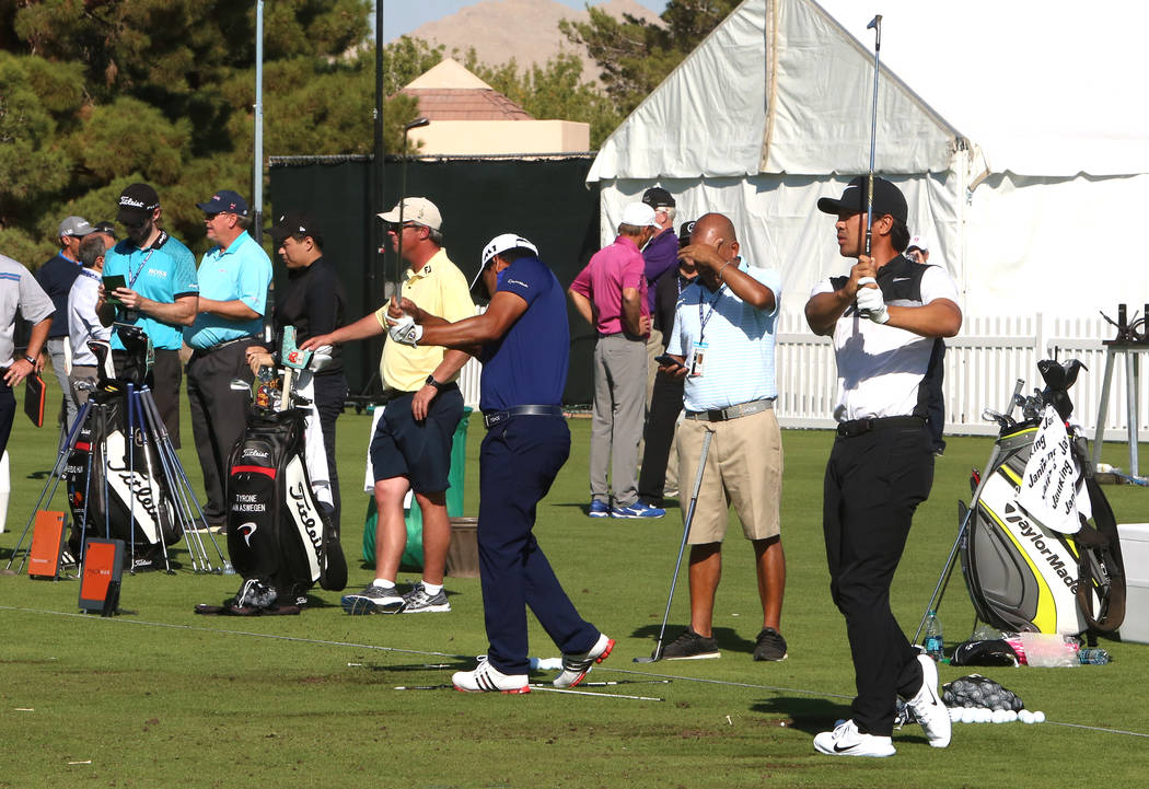 Players practice at a driving range as they prepare for the Shrine Hospitals for Children Open golf tournament at TPC Summerlin Tuesday, Oct. 31, 2017, in Las Vegas. Bizuayehu Tesfaye/Las Vegas Re ...