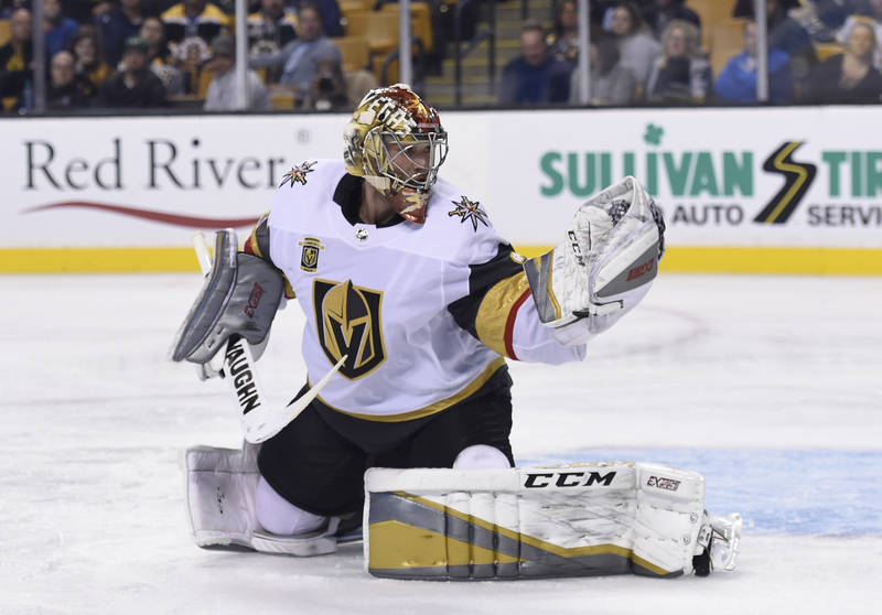 Nov 2, 2017; Boston, MA, USA; Vegas Golden Knights goalie Maxime Lagace (33) makes a glove save during the third period against the Boston Bruins at TD Garden. Mandatory Credit: Bob DeChiara-USA T ...