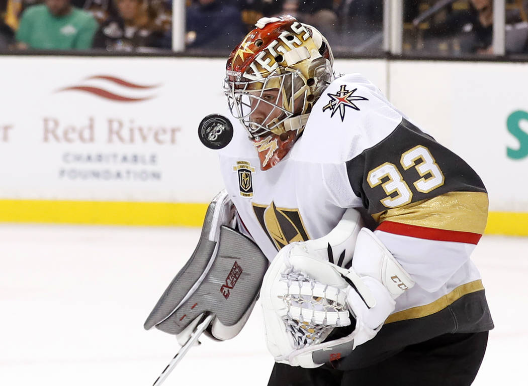 Vegas Golden Knights goalie Maxime Lagace makes a save against the Boston Bruins during the second period of an NHL hockey game in Boston, Thursday, Nov. 2, 2017. (AP Photo/Winslow Townson)