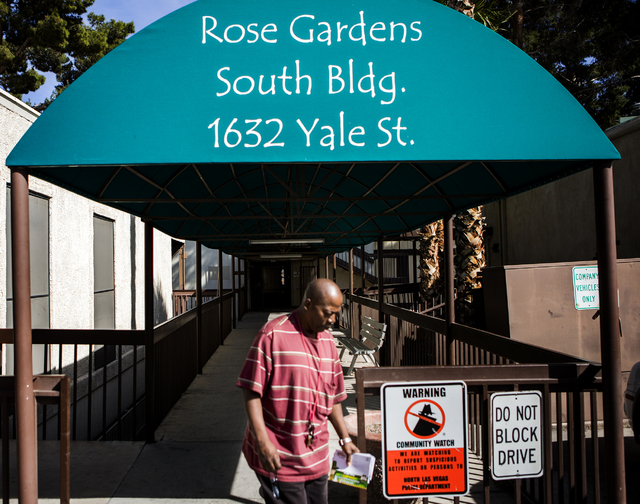 A man walks on the grounds at Rose Gardens, 1632 Yale Street, on Wednesday, March 3, 2016. North Las Vegas city council will vote on whether to allocate $500,000 in grant money toward rebuilding t ...