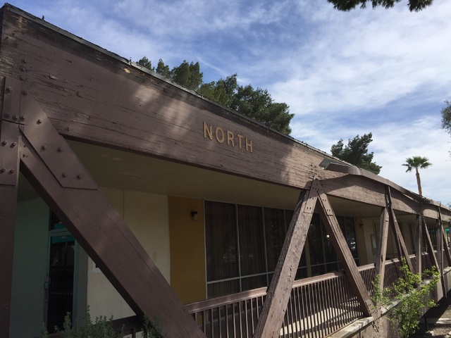 The roof of the Rose Gardens public senior housing complex is seen on Monday, March 14, 2016. Residents said that strong winds swept part of the roof off about a week earlier. Residents said the i ...