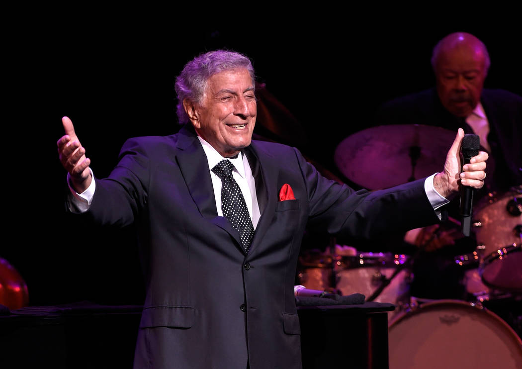 "Recording artist Tony Bennett performs as he debuts his limited engagement, ""Tony: The Best Is Yet to Come"" at the Encore Theater at Wynn Las Vegas on Nov. 1.  (Photo by David Becker/WireImage)"