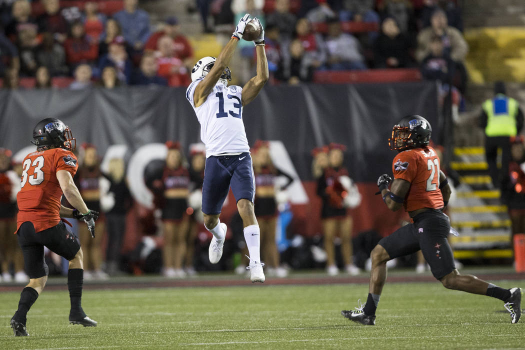 Brigham Young Cougars wide receiver Micah Simon (13) makes a catch against UNLV Rebels in the football game at Sam Boyd Stadium in Las Vegas, Friday, Nov. 10, 2017. Erik Verduzco Las Vegas Review- ...