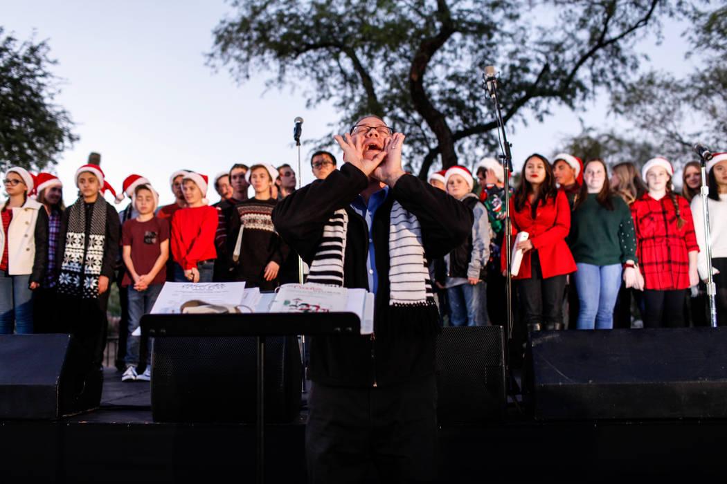 Coronado High School Choir Director Eric Fletcher shouts during the 24th Annual Holiday Cactus Garden in Henderson, Tuesday, Nov. 7, 2017. Joel Angel Juarez Las Vegas Review-Journal @jajuarezphoto