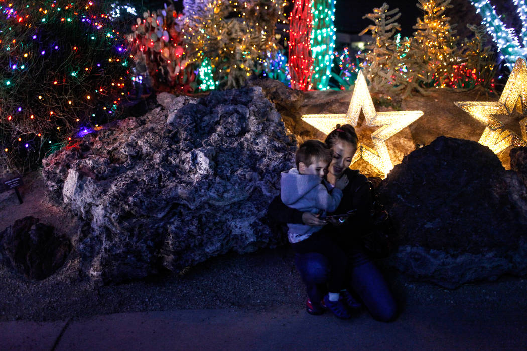 Sebastian Robertson, 3, left, holds onto his mother Cristina Robertson, 39, right, both of Las Vegas, during the 24th Annual Holiday Cactus Garden in Henderson, Tuesday, Nov. 7, 2017. Joel Angel J ...