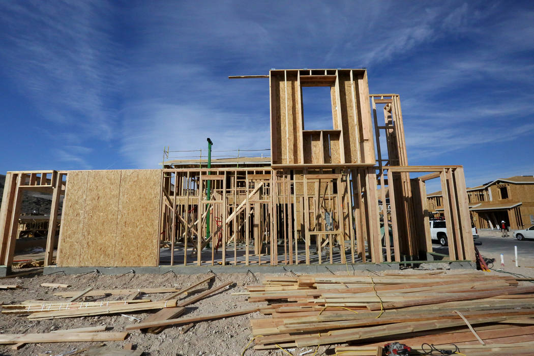 New homes under construction at Cortona, a Lennar construction site in the Southern Highlands community on Friday, Nov. 3, 2017. Michael Quine/Las Vegas Review-Journal @Vegas88s