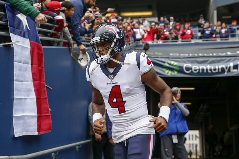 Oct 29, 2017; Seattle, WA, USA; Houston Texans quarterback Deshaun Watson (4) leaves the locker room and runs to the field for pregame warmups against the Seattle Seahawks at CenturyLink Field. Ma ...