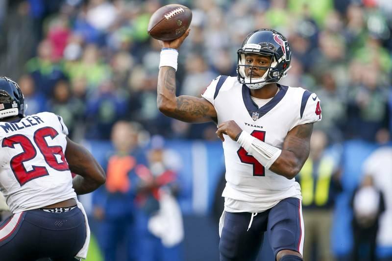 Oct 29, 2017; Seattle, WA, USA; Houston Texans quarterback Deshaun Watson (4) passes against the Seattle Seahawks during the fourth quarter at CenturyLink Field. Mandatory Credit: Joe Nicholson-US ...
