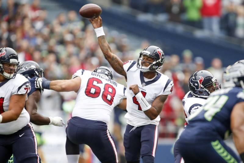 FILE PHOTO: Houston Texans quarterback Deshaun Watson (4) passes against the Seattle Seahawks during the first quarter at CenturyLink Field, Oct 29, 2017; Seattle, WA, USA;. Mandatory Credit: Joe  ...