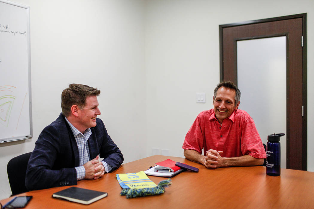 Las Vegas Lights FC Owner Brett Lashbrook, left, and Vice President of Corporate Sponsorships Steve Pastorino, right, at the Light's offices in Las Vegas, Monday, Nov. 6, 2017. Joel Angel Juarez L ...