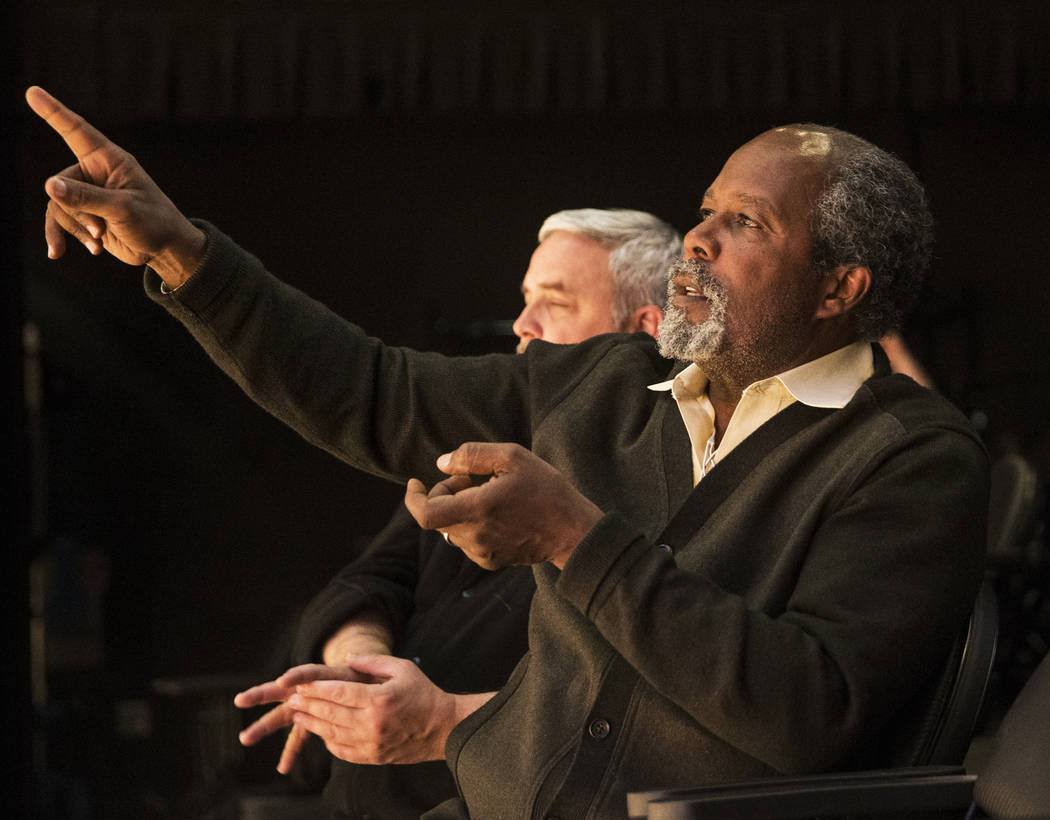 "Director Clarence Gilyard gives feedback to his actors during rehearsal for the Pulitzer Prize-winning play ""Disgraced"" at the Black Box Theatre on Wednesday, March 22, 2017, at  ..."