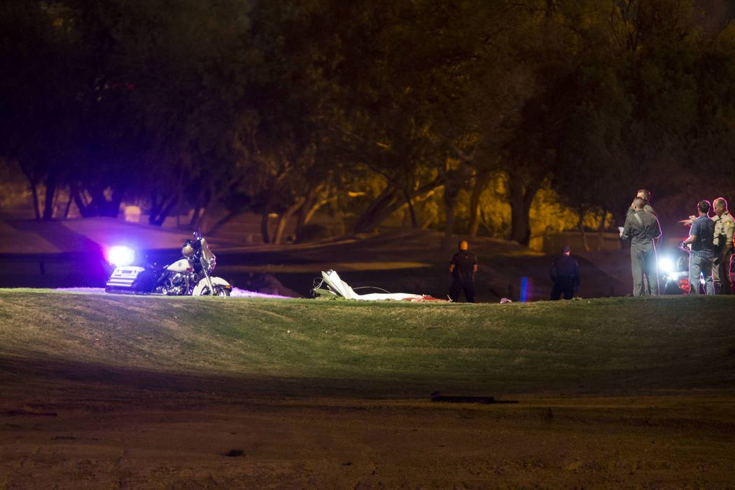 The scene of a plane crash at the Painted Desert Golf Club in Las Vegas, Thursday, Nov. 2, 2017. Erik Verduzco Las Vegas Review-Journal @Erik_Verduzco
