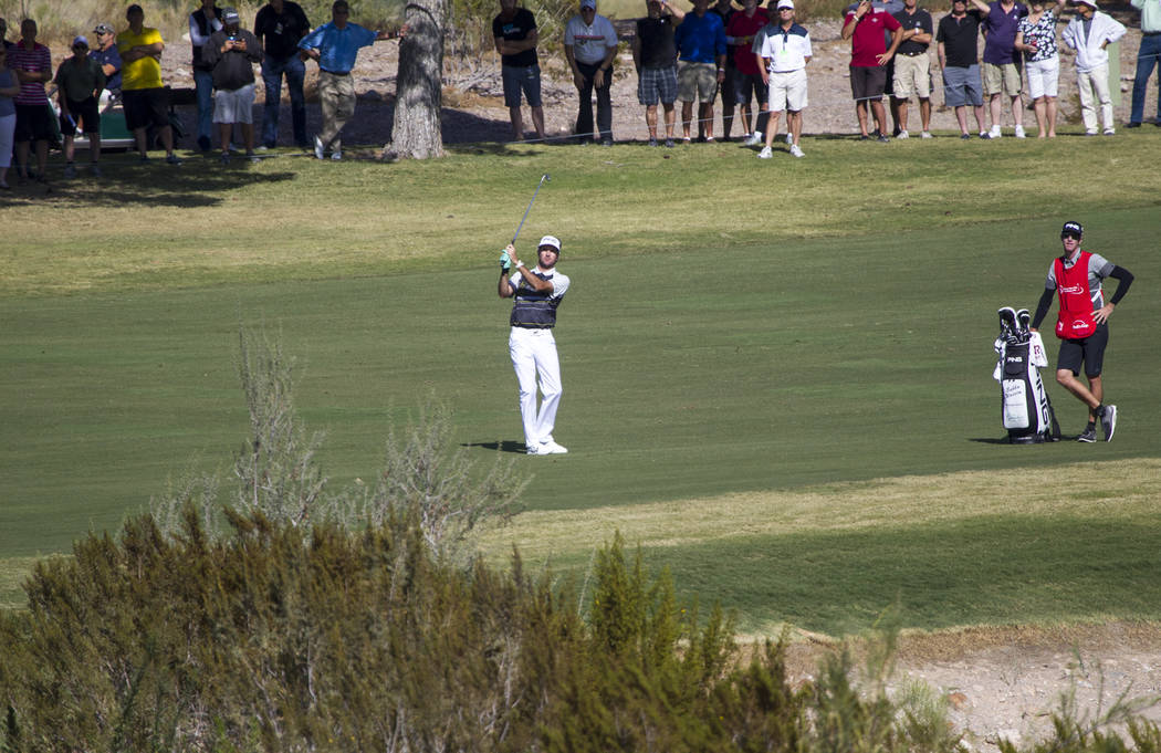 Bubba Watson of Florida plays a shot from the third hole during the first round of the Shriners Hospitals For Children Open at TPC at Summerlin in Las Vegas, Thursday, Nov. 2, 2017. Richard Brian  ...