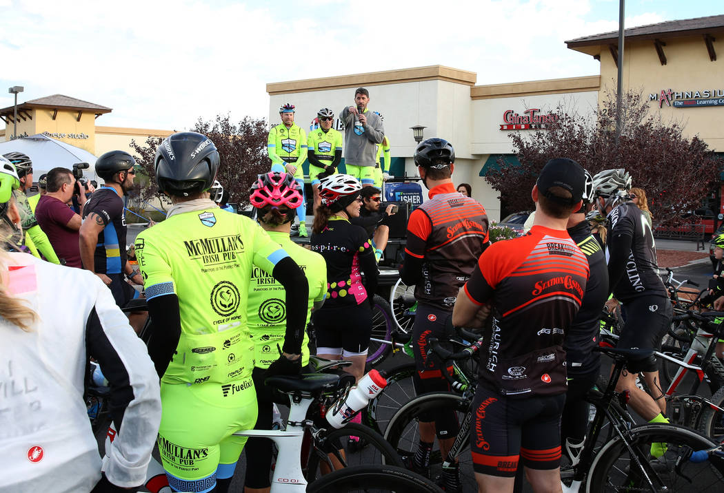 Pat Treichel, center, founder Ghost Bikes Las Vegas, speaks during a ghost bike memorial ceremony on Saturday, Nov. 4, 2017, in Henderson. Cox was struck by a vehicle while riding her bike on Oct. ...