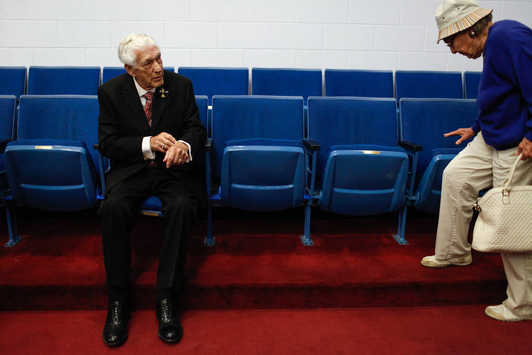 Edward Hall, 93, a WWII veteran and Pearl Harbor attack survivor, sits during his high school graduation ceremony at the Masonic Memorial Temple in Las Vegas, Monday, Nov. 6, 2017. Joel Angel Juar ...