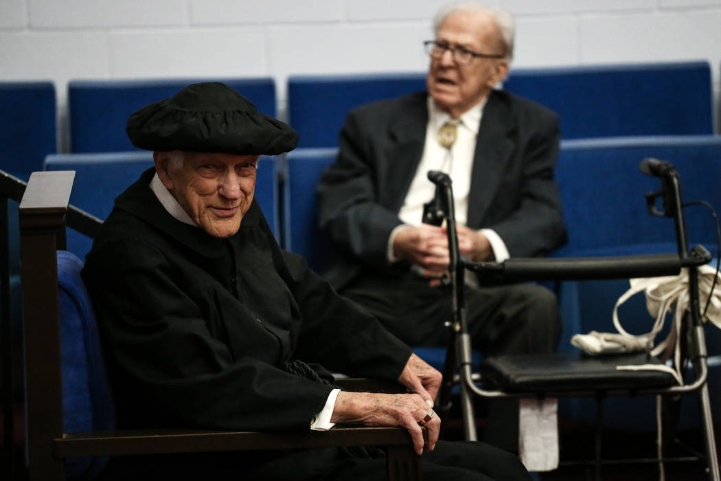 Edward Hall, 93, a WWII veteran and Pearl Harbor attack survivor, smiles during his high school graduation ceremony at the Masonic Memorial Temple in Las Vegas, Monday, Nov. 6, 2017. Joel Angel Ju ...