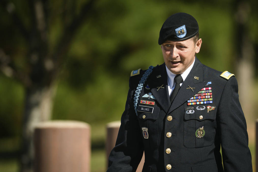 Capt. John Billings leaves the Fort Bragg courthouse after testifying in Army Sgt. Bowe Bergdahl's sentencing hearing on Wednesday, Oct. 25, 2017, on Fort Bragg, N.C. Bergdahl, who walked off his  ...