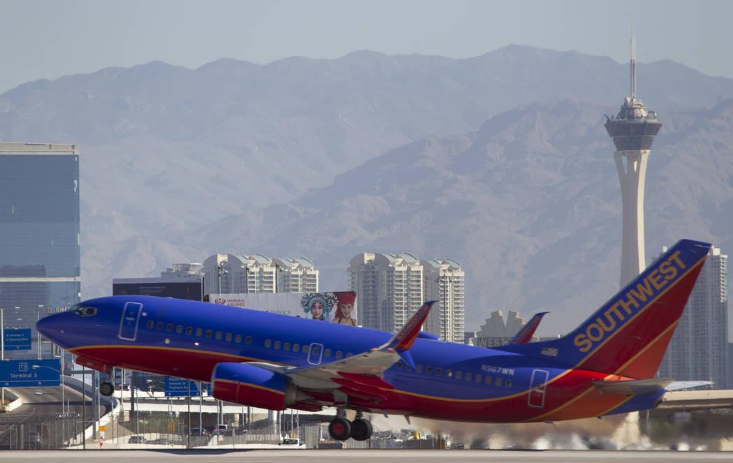 A Southwest Airlines jetliner departs from McCarran International Airport in Las Vegas. Richard Brian Las Vegas Review-Journal @vegasphotograph