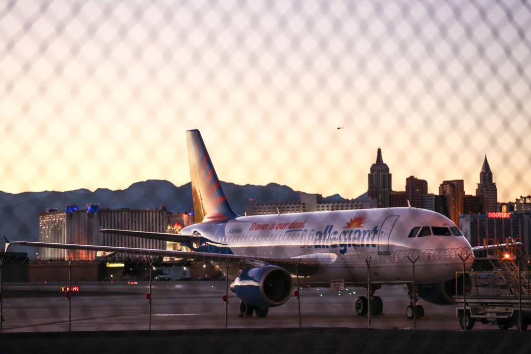 An airplane at McCarran International Airport in Las Vegas, Monday, Oct. 23, 2017. Joel Angel Juarez Las Vegas Review-Journal @jajuarezphoto