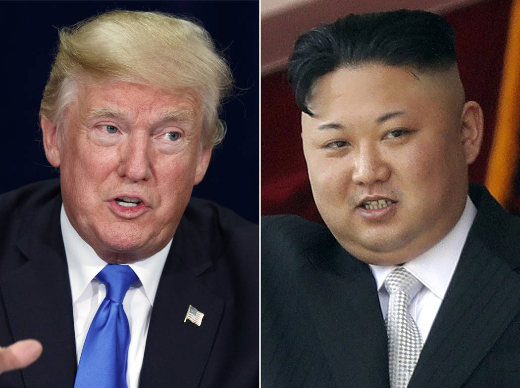 This combination of the file photos show President Donald Trump, left, on Oct. 25, 2017, in Dallas and North Korean leader Kim Jong Un, right,  on April 15, 2017 in Pyongyang. President Trump will ...