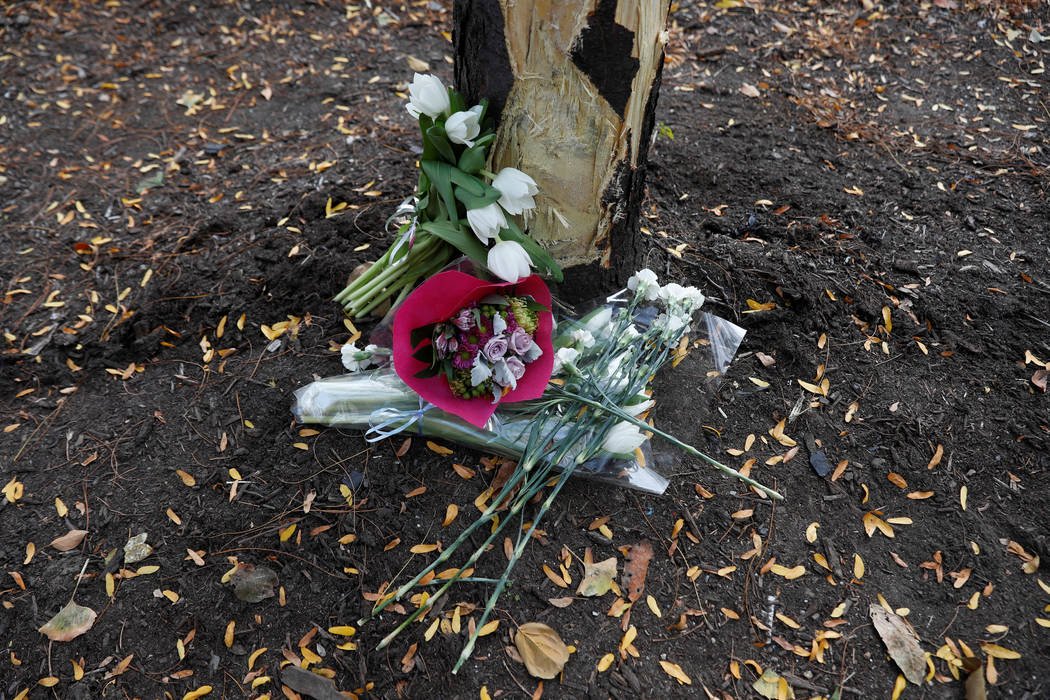 Flowers are seen next to a damaged tree along a bike path to remember the victims of Tuesday's attack in New York City, in New York, U.S. November 3, 2017. (Shannon Stapleton/Reuters)