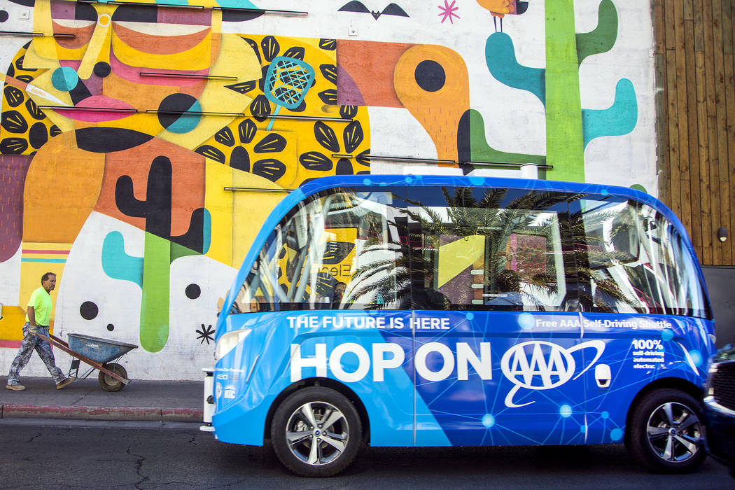 AAA on Wednesday will unveil self-driving shuttle that will drive in a half-mile loop around downtown Las Vegas for the next year. AAA