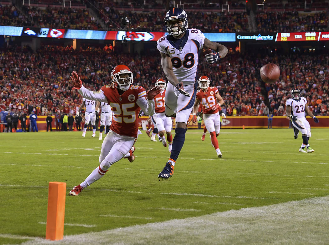 Pass interference was called on Kansas City Chiefs cornerback Kenneth Acker (25) while covering Denver Broncos wide receiver Demaryius Thomas (88) during the second half of an NFL football game in ...