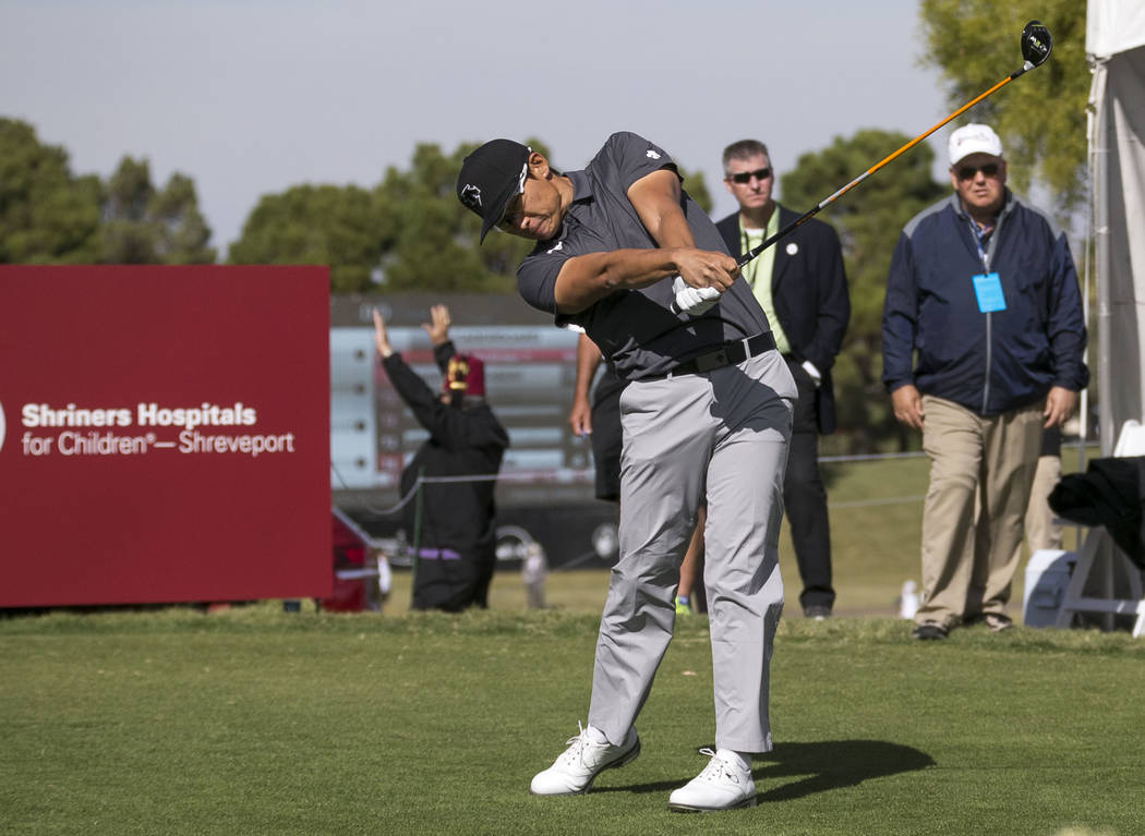 Whee Kim of South Korea plays his shot from the first hole during the second round of the Shriners Hospitals For Children Open at TPC at Summerlin in Las Vegas, Friday, Nov. 3, 2017. Richard Brian ...