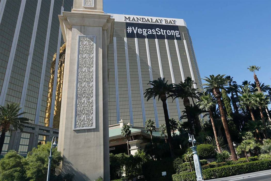 """A """" Vegas Strong"""" banner hangs from the Mandalay Bay in Las Vegas, Saturday, Oct. 14, 2017. Chitose Suzuki Las Vegas Review-Journal"""