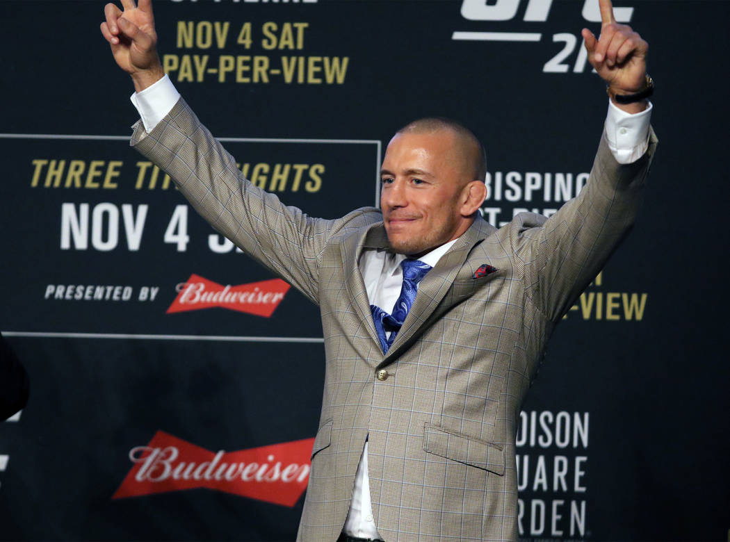 Former UFC welterweight champion Georges St-Pierre at the UFC 217 news conference at Madison Square Garden in New York, New York, Thursday, Nov. 2, 2017. Heidi Fang Las Vegas Review-Journal @HeidiFang