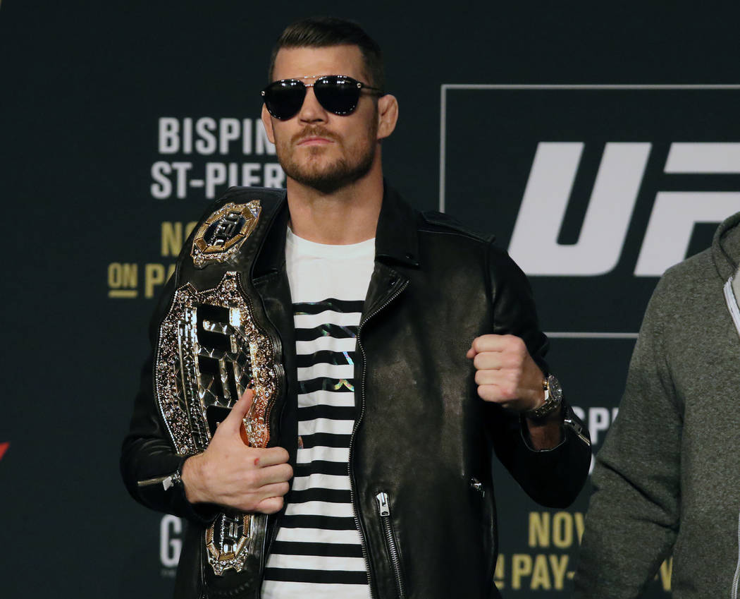 UFC middleweight champion Michael Bisping at the UFC 217 news conference at Madison Square Garden in New York, New York, Thursday, Nov. 2, 2017. Heidi Fang Las Vegas Review-Journal @HeidiFang