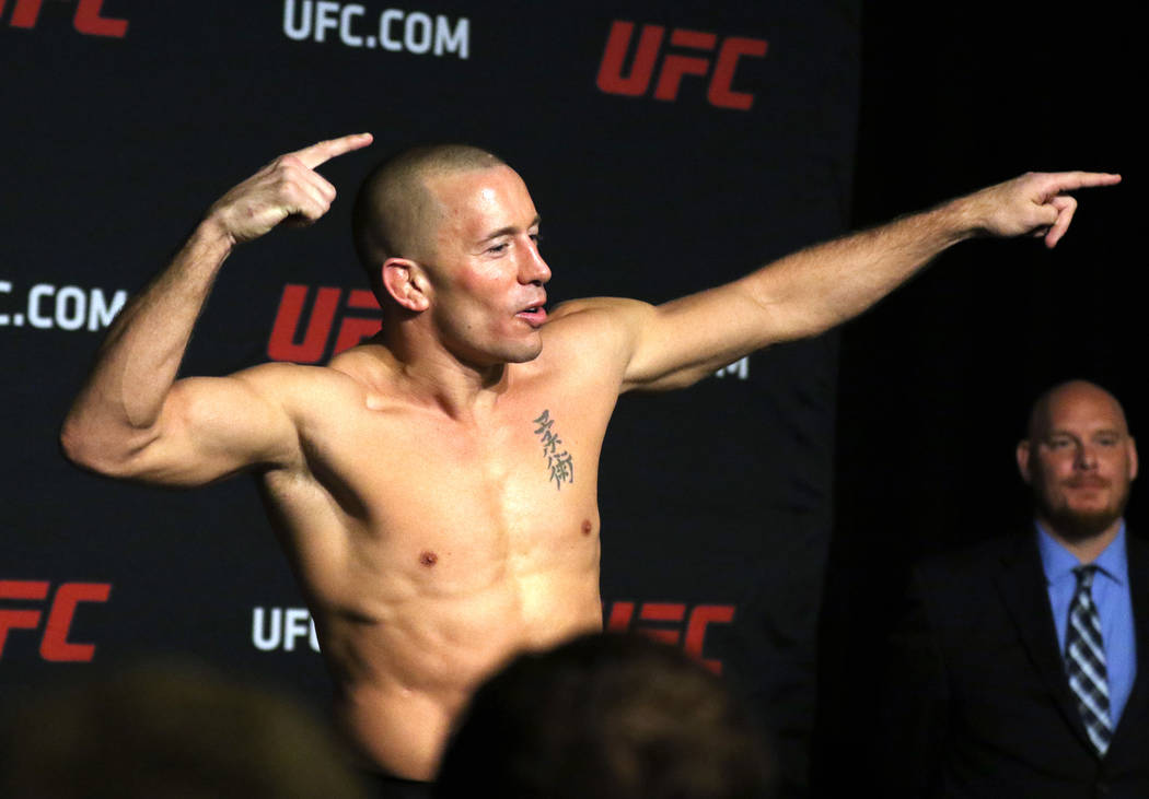 Georges St-Pierre at the UFC 217 official weigh-in at the Stewart Hotel in New York, New York, Friday, Nov. 3, 2017. Heidi Fang Las Vegas Review-Journal @HeidiFang