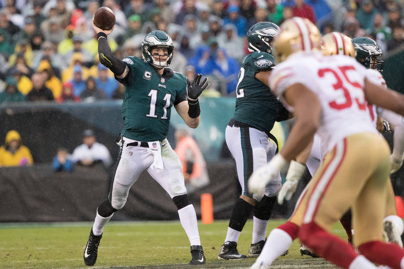 Oct 29, 2017; Philadelphia, PA, USA; Philadelphia Eagles quarterback Carson Wentz (11) passes against the San Francisco 49ers during the third quarter at Lincoln Financial Field. Mandatory Credit: ...
