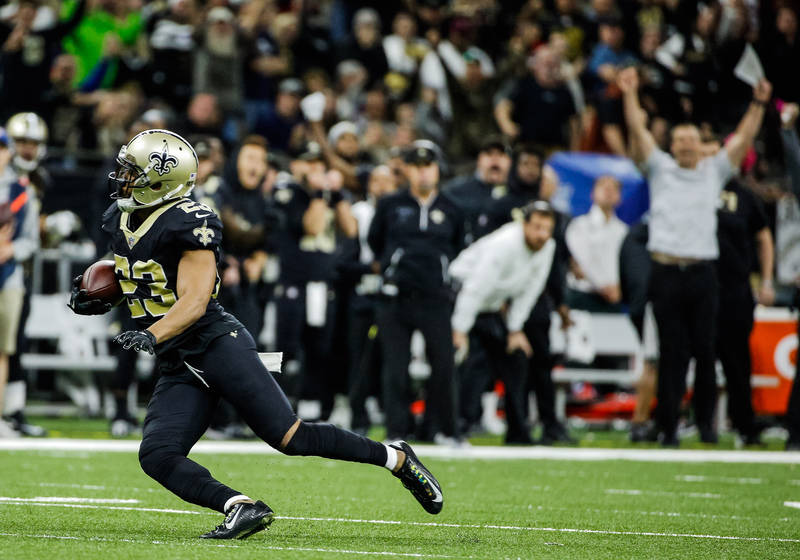 Oct 29, 2017; New Orleans, LA, USA; New Orleans Saints cornerback Marshon Lattimore (23) intercepts a pass against the Chicago Bears during the fourth quarter of a game at the Mercedes-Benz Superd ...