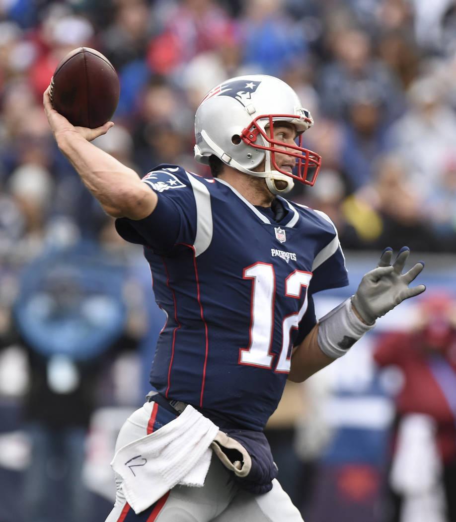 Oct 29, 2017; Foxborough, MA, USA; New England Patriots quarterback Tom Brady (12) throws the ball during the second half against the New England Patriots at Gillette Stadium. Mandatory Credit: Bo ...